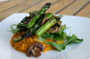 Kumara Mash with roast vege and rocket