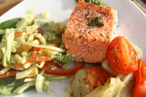 Fennel, Grapefruit, and Avacado salad, Grilled salmon with pesto, and roasted fennel & tomato
