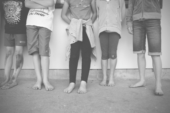 barefooted children