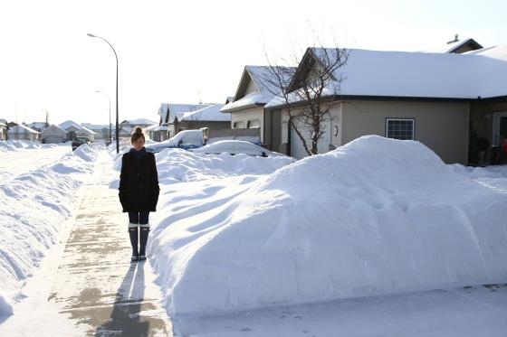 snow piles.